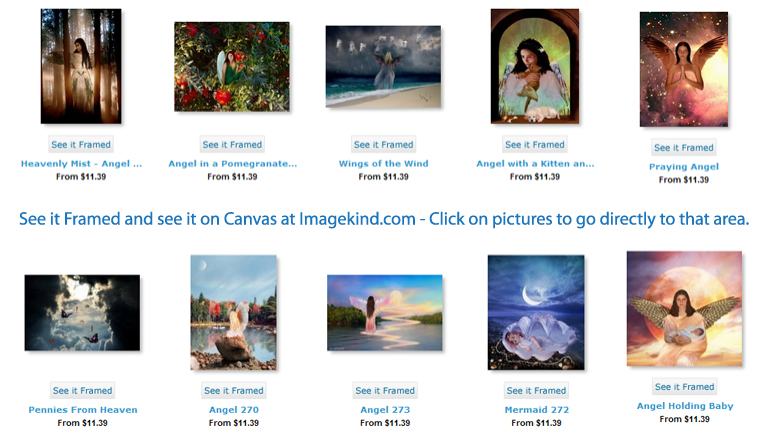 Imagekind.com allows you to chose size, chose the frame for your beautiful angel art print. Canvas available in all sizes.